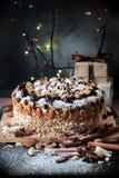 圣诞节蛋糕装饰果子、坚果和面包屑 冠上用巧克力,蜜桔,杏仁,椰子剥落,砍了面包屑 免版税图库摄影