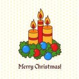 圣诞节蜡烛乱画贺卡 库存图片
