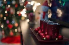 圣诞节蜡烛台 免版税库存照片