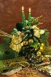 圣诞节蜡烛和光与上古 图库摄影