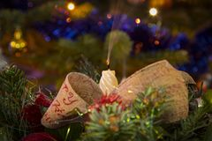 圣诞节蜡烛和树光 图库摄影