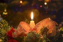 圣诞节蜡烛和树光 库存照片