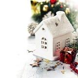 圣诞节蜡烛房子 库存照片
