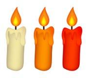 圣诞节蜡烛集合,燃烧的蜡蜡烛象,标志,设计 冬天在白色背景隔绝的传染媒介例证 免版税库存照片