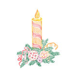 圣诞节蜡烛,剪影,乱画,传染媒介例证 免版税图库摄影