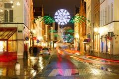 圣诞节街道在布鲁日,比利时 免版税库存照片