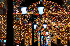 圣诞节街道在莫斯科 免版税库存图片