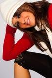 圣诞节衣裳 塑造冬天妇女 库存图片