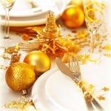 圣诞节表设置静物画 免版税库存图片