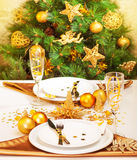 圣诞节表设置 库存图片