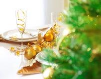 圣诞节表设置 免版税库存照片