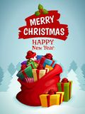 圣诞节袋子海报 库存图片