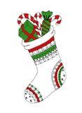 圣诞节袜子zentangle设计乱画剪影  图库摄影