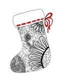 圣诞节袜子zentangle设计乱画剪影  库存例证