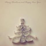圣诞节被剪切的手工制造纸结构树 库存图片