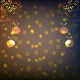 圣诞节被弄脏的背景和金装饰品 eps10开花橙色模式缝制的rac ric缝的镶边修整向量墙纸黄色 库存图片