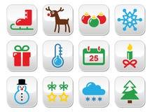 圣诞节被设置的冬天按钮 库存图片