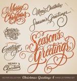 圣诞节被设置的手字法(传染媒介) 免版税图库摄影