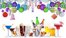 圣诞节被设置的酒精饮料 库存照片