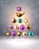 圣诞节装饰、中看不中用的物品、球、鸟和星,传染媒介 免版税库存照片