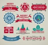 圣诞节装饰、套书法和印刷术标志 免版税库存照片