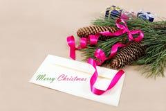 圣诞节装饰、空白和一支铅笔祝贺的 库存图片