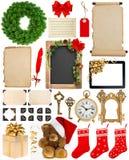 圣诞节装饰、装饰品和礼物 纸和框架iso 免版税库存图片