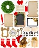 圣诞节装饰、装饰品和礼物 纸和框架iso 免版税库存照片
