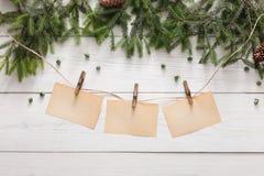 圣诞节装饰、装饰品和诗歌选构筑背景 库存图片