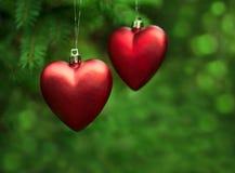 圣诞节装饰两心脏 免版税库存图片