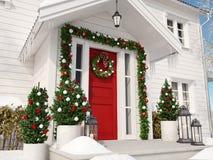 圣诞节装饰了与小的树和灯笼的门廊 3d翻译 免版税库存图片