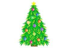 圣诞节装饰了例证结构树 图库摄影