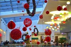 圣诞节装饰了商城 免版税库存图片