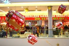 圣诞节装饰了市场 免版税库存照片