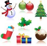 圣诞节装饰了毛皮图标结构树 免版税图库摄影