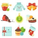 圣诞节装饰了毛皮图标结构树 免版税库存照片