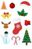 圣诞节装饰了毛皮图标结构树 免版税库存图片