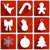 圣诞节装饰了毛皮图标结构树 库存例证