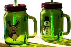 圣诞节装饰了瓶子 库存照片