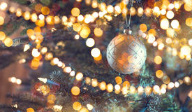 圣诞节装饰了结构树 抽象节假日背景 免版税库存图片