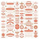 圣诞节装饰传染媒介设计元素 免版税库存图片