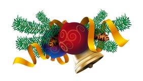 圣诞节装饰元素设计、现实新年树假日装饰与圣诞节球,金铃和红色丝带 免版税库存照片