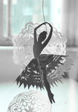 圣诞节装饰元素-纸跳芭蕾舞者 库存照片