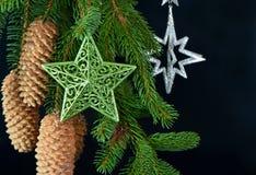 圣诞节装饰发光的星形结构树 库存照片