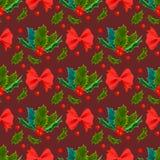 圣诞节装饰叶子霍莉和分支与红色莓果常青冬天开花花卉植物无缝的样式 库存照片