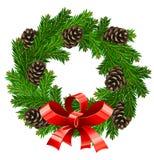 圣诞节装饰向量花圈 免版税库存照片