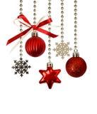 圣诞节装饰和一把红色丝带弓 库存图片