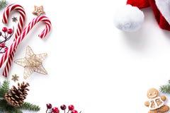 圣诞节装饰和假日甜在白色背景 免版税库存照片