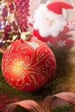 圣诞节装饰和圣诞老人 免版税库存图片
