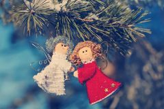 圣诞节装饰和玩具圣诞树的 图库摄影